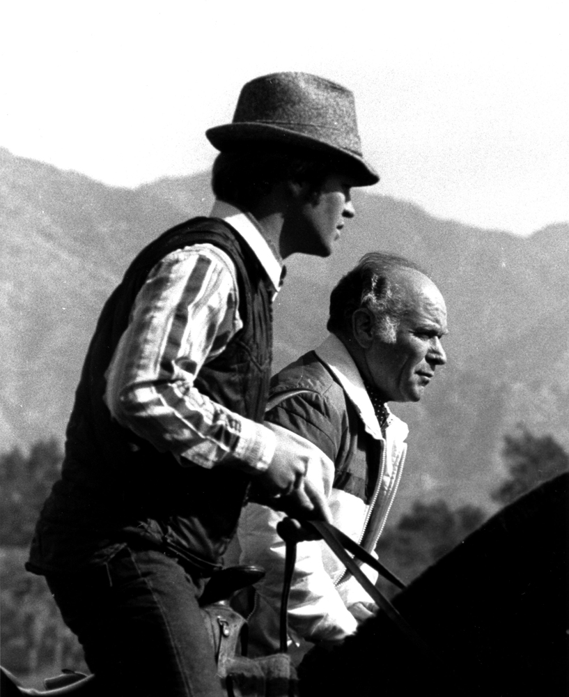 Gary Jones with father, Farrell Jones, on the track at Santa Anita Park (Bill Mochon/Museum Collection)