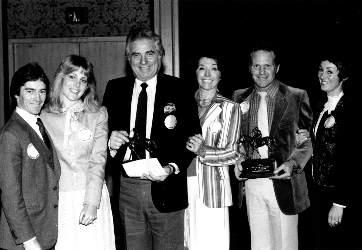 Cal-Bred  Horse of the Year award presentation to the winning connections of Eleven Stitches (Sandy Hawley, Vicki Grosse, Morey and Claudia Mirkin, and Gary and Joan Jones) in February 1982 (Bill Mochon/Museum Collection)