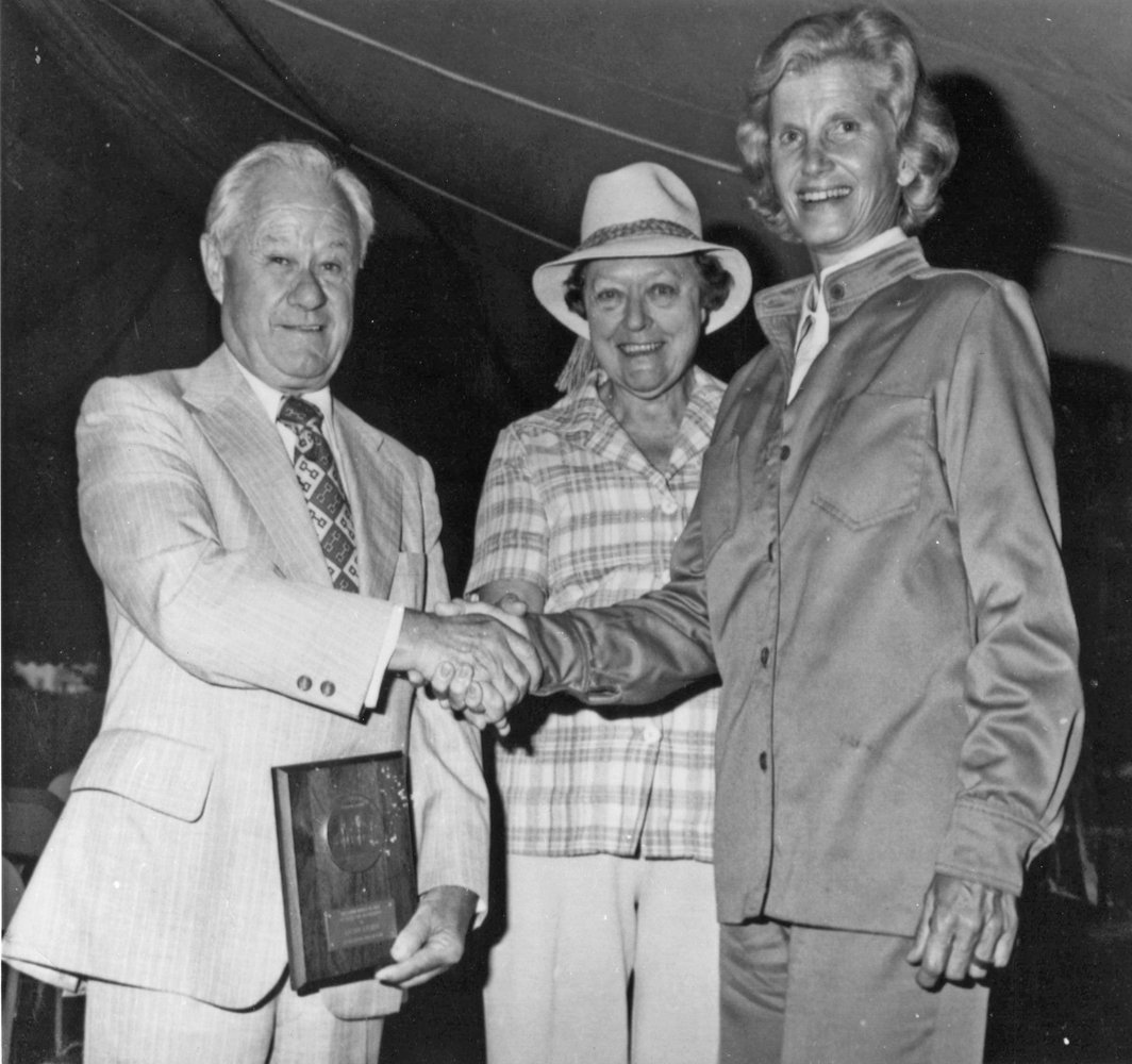 Lucien Laurin, Elizabeth Ham (secretary for Meadow Stable), and Penny Chenery at his Hall of Fame induction in 1977 (NYRA/Bob Coglianese /Museum Collection)