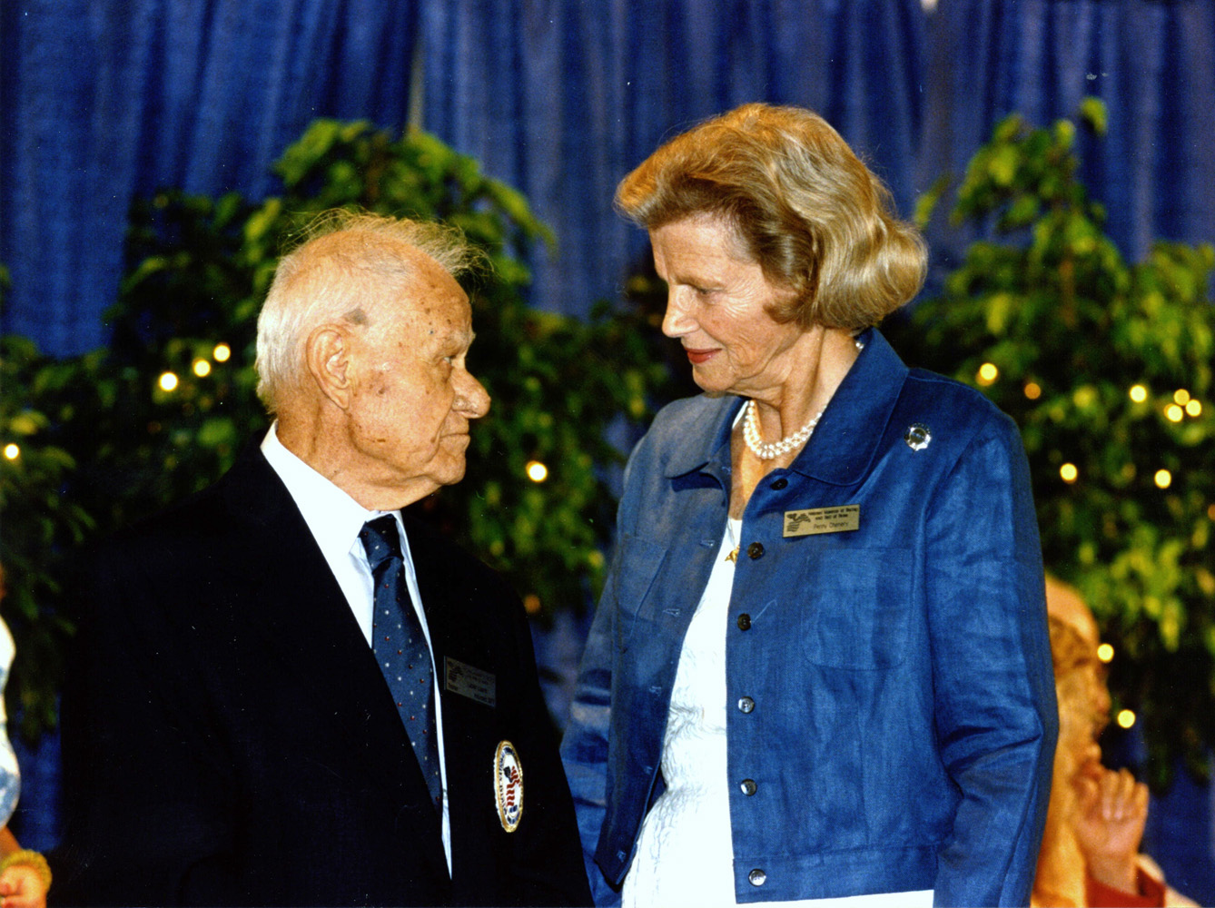 Lucien Laurin and Penny Chenery at the 1998 Hall of Fame induction of Riva Ridge (Museum Collection)