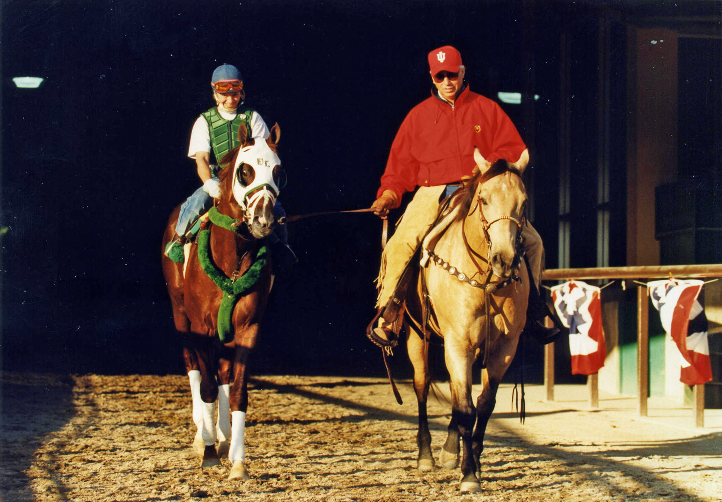 D. Wayne Lukas joining Tabasco Cat for morning workouts at Belmont Park, June 1994 (Barbara D. Livingston/Museum Collection)