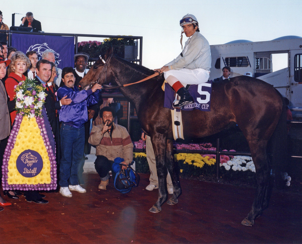Ron McAnally and the winning connections of Bayakoa (Laffit Pincay, Jr. up) celebrating her Breeders' Cup Distaff victory (Bob Coglianese/Museum Collection)