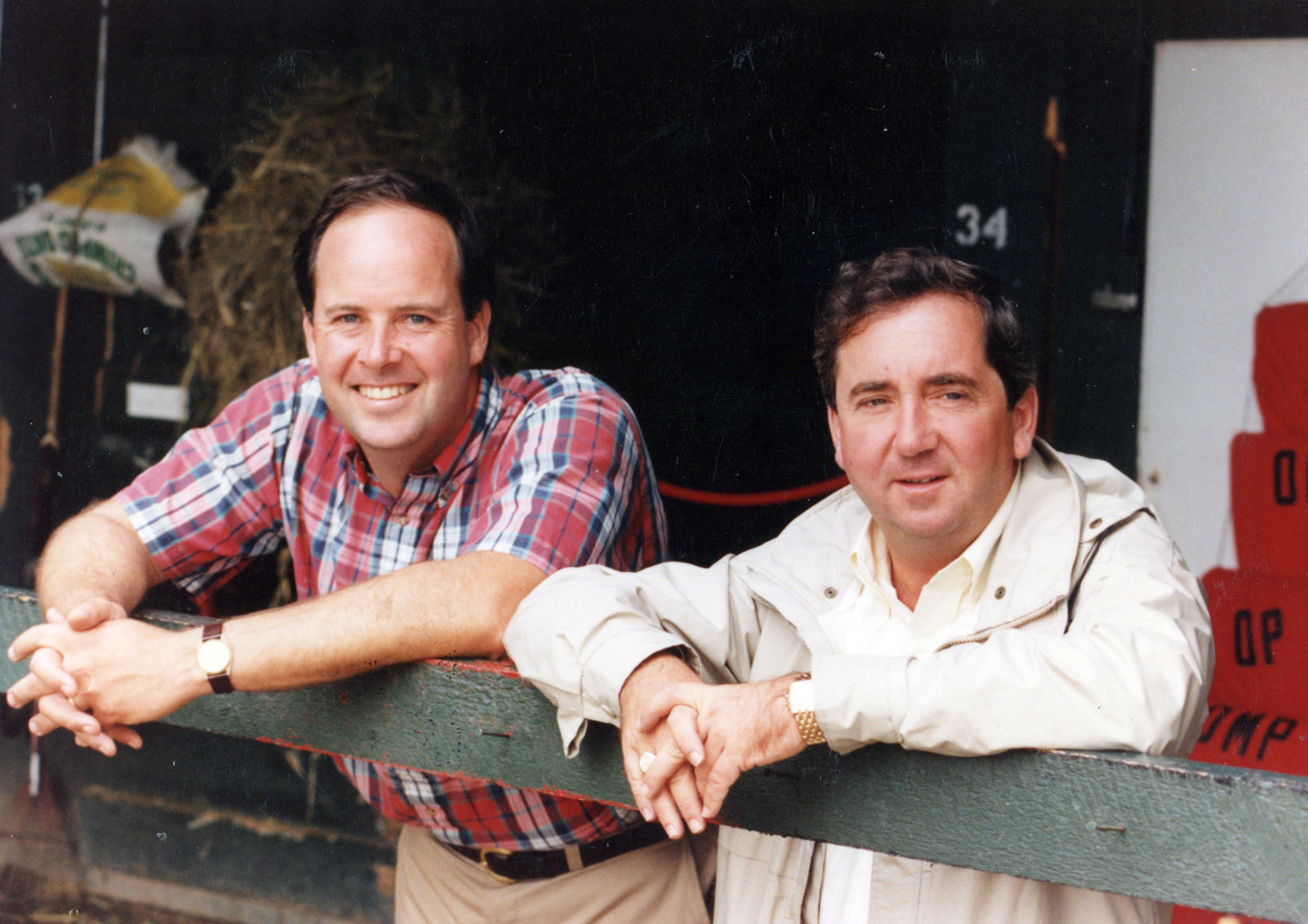 """""""Shug"""" McGaughey (on right) at Saratoga, August 1990 (Mike Pender/Museum Collection)"""