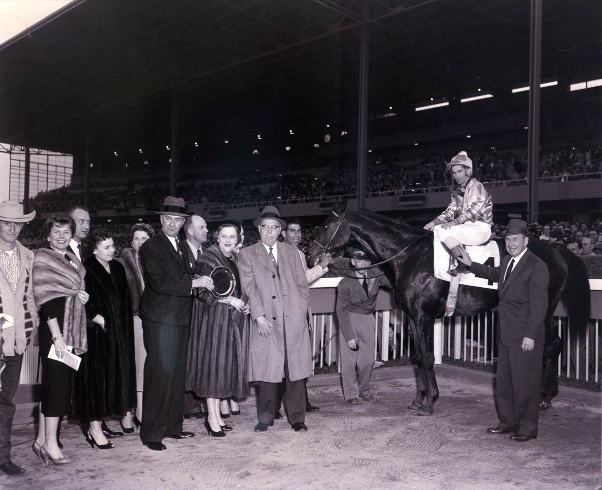 The winning connections of Round Table (Bill Shoemaker up) in the winner's circle at Santa Anita Park (Santa Anita Photo/Museum Collection)