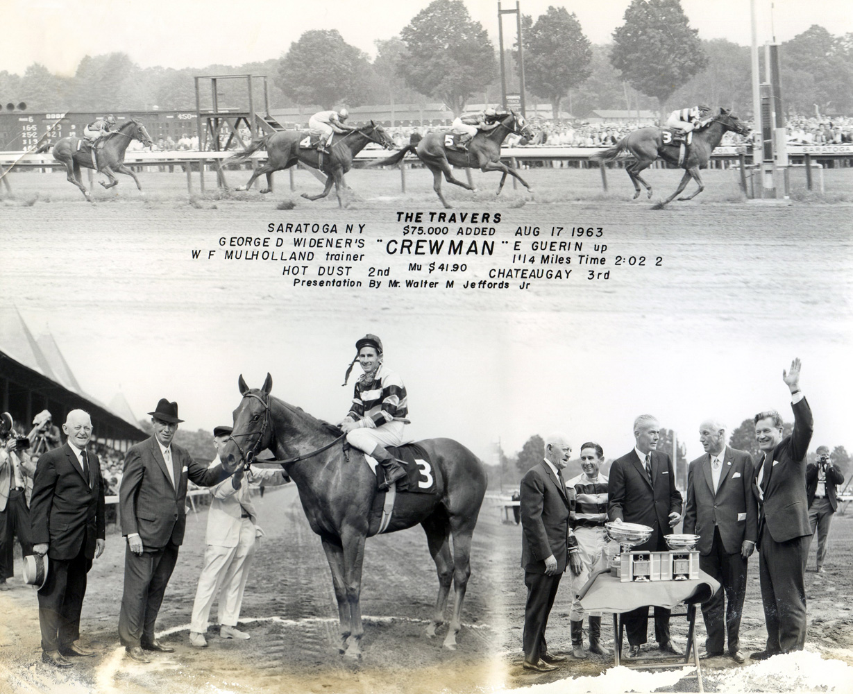 Win composite photograph for the 1963 Travers Stakes at Saratoga won by Crewman (Eric Guerin up), trained by Bert Mulholland (NYRA/Museum Collection)