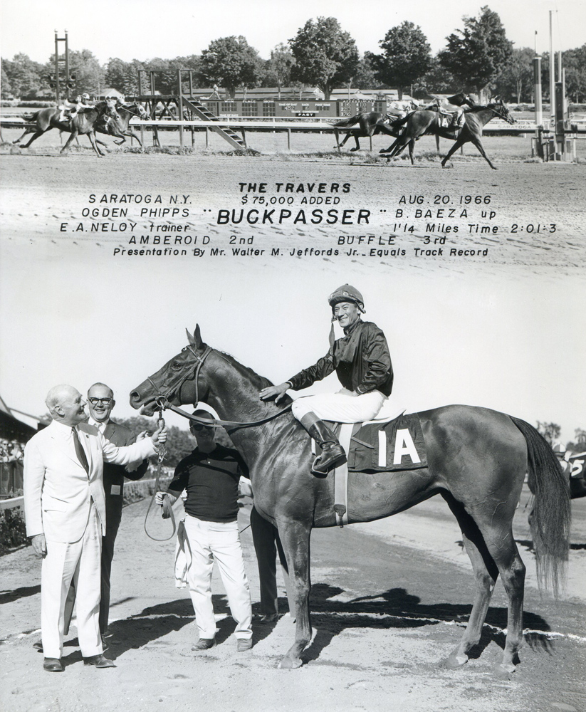 Win composite photograph for the 1966 Travers Stakes, won by Buckpasser (Braulio Baeza up), trained by Eddie Neloy (NYRA/Museum Collection)