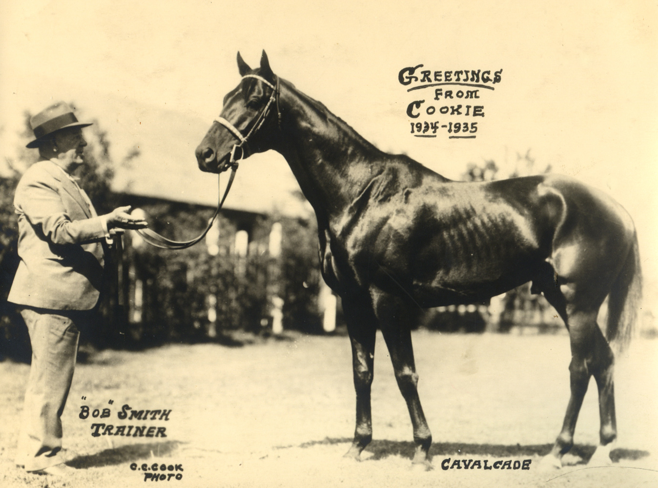 1934-35 photo-greeting card by C. C. Cook featuring trainer Bob Smith and Hall of Fame horse Cavalcade (C. C. Cook/Museum Collection)