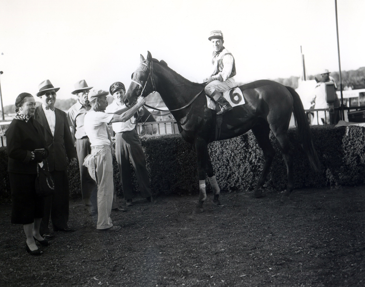 Trainer Harry Trotsek in the winner's circle with Platan (Conn McCreary up) for the 1953 Lawrence Realization at Belmont Park (Keeneland Library Morgan Collection/Museum Collection)