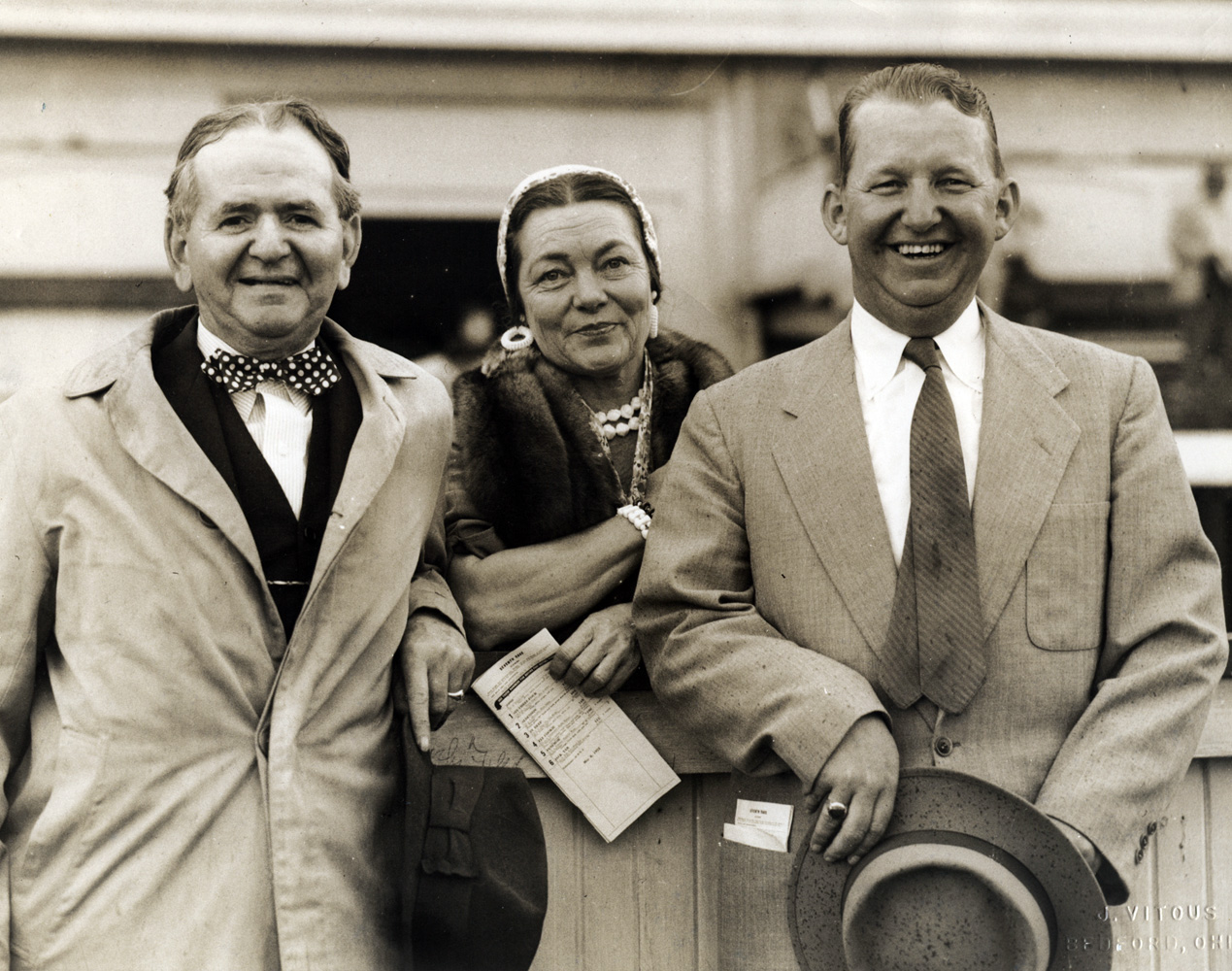 Harry Trotsek (on right) with horse owners Mr. and Mrs. A. E. Reuben at Churchill Downs, May 1953 (Museum Collection)