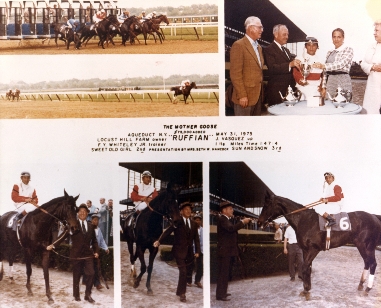 Win composite photograph from the 1975 Mother Goose at Aqueduct, won by Ruffian (Jacinto Vasquez up), trained by Frank Whiteley, Jr. (NYRA/Museum Collection)