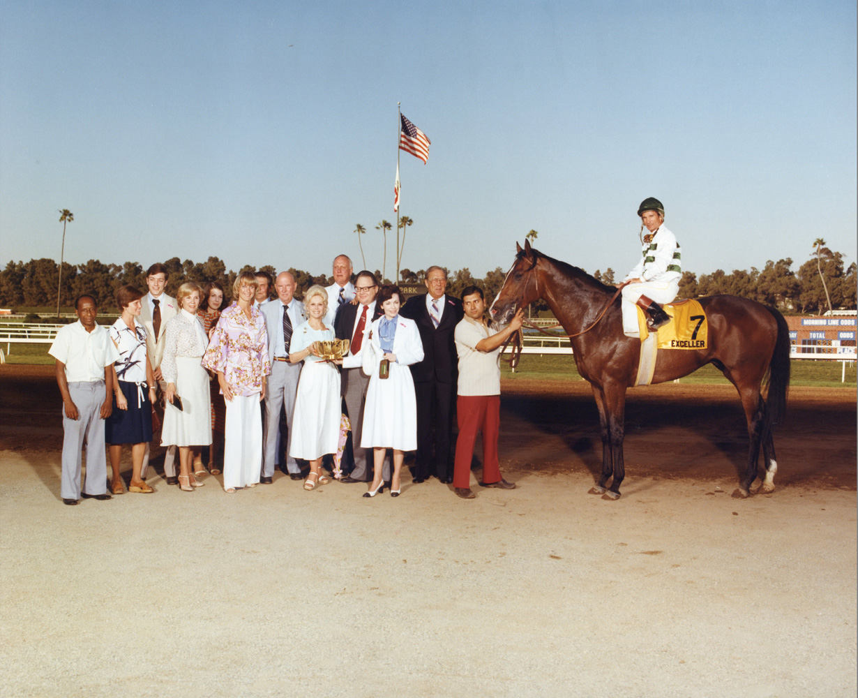 Winner's circle photograph for the 1978 Hollywood Invitational at Hollywood Park, won by Exceller (Bill Shoemaker up), trained by Charlie Whittingham (Hollywood Park Photo/Museum Collection)